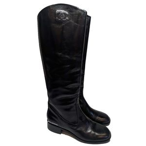 Chanel Patent Leather Black Riding Boots